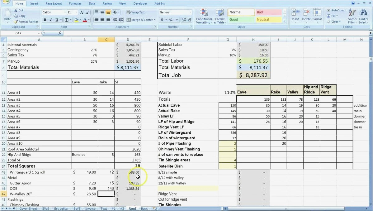 Estimate Spreadsheet Template Construction Estimating Fresh Invoice For Construction Estimating Spreadsheet Template