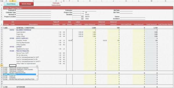 Estimate Spreadsheet Template Excel Estimatingt Templates New And Construction Cost Estimate Format