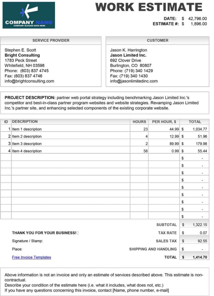 Estimate Template Forms Form Stirring Templates Free For Contractors Within Construction Estimate Templates Free