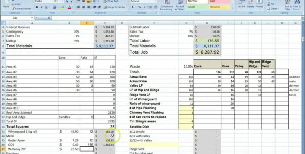 Estimating Sheet With Excel For The General Contractor Intended For Within Cost Estimate Spreadsheet Template