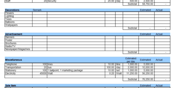 Event Budget | Excel Templates And Event Budget Spreadsheet Template