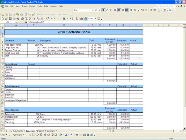 Event Budget | Excel Templates To Event Budget Spreadsheet Template