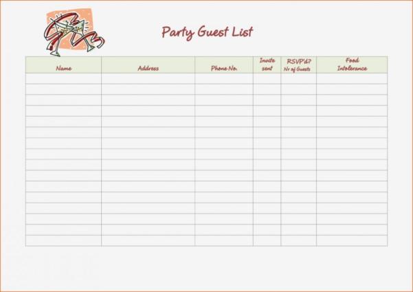 Event Rsvp Template Wedding Guest List Spreadsheet Alan Co Party 725 With Wedding Guest List Spreadsheet Template