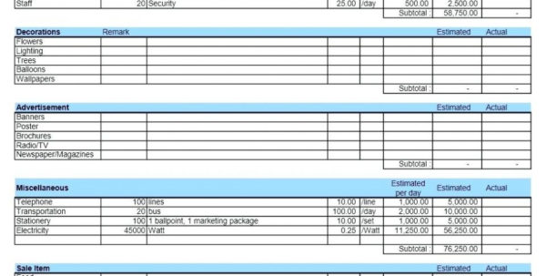 Example Of Event Budget Spreadsheet Sample Worksheet Budgeting For And Event Budget Spreadsheet Template