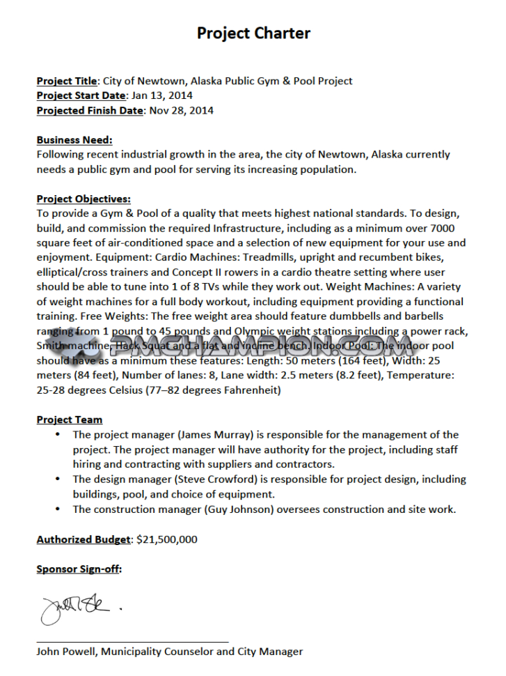 Example Of Project Charter For Construction Project   Zoro.9Terrains.co For Project Management Charter Templates