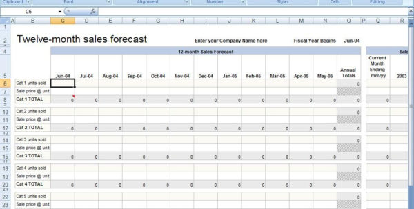 Example Of Sales Forecast Spreadsheet Template Monthly | Pianotreasure With 12 Month Sales Forecast Template