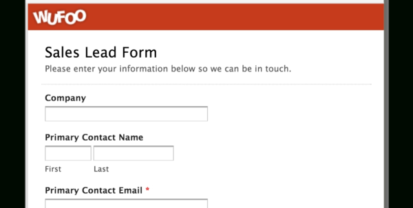 Examples Of Online Forms | Wufoo For Sales Lead Template Forms Sales Inside Sales Lead Template Word