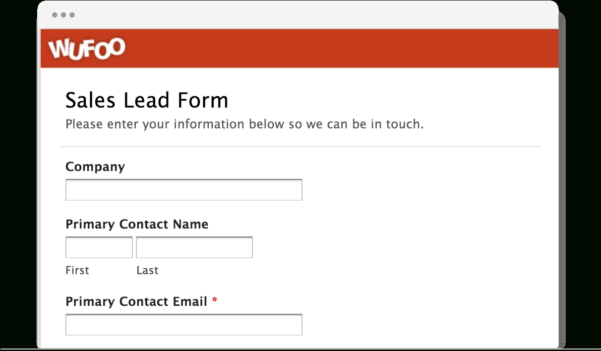Examples Of Online Forms   Wufoo For Sales Lead Template Forms Sales To Sales Lead Template Forms