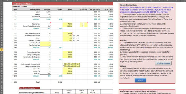 Excel Construction Estimate Template   Kimo.9Terrains.co Throughout Construction Estimate Proposal Template