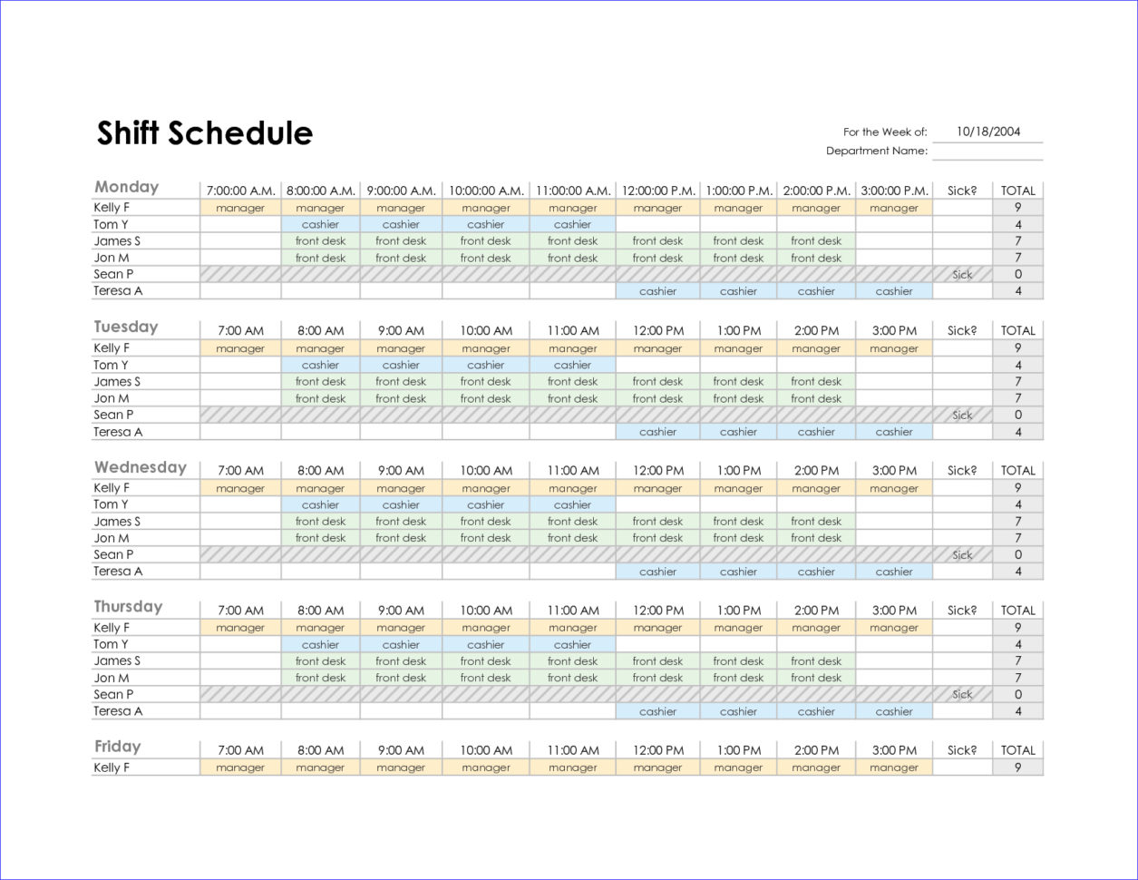 Excel Employee Schedule Template Monthly | Printable Schedule Template And Monthly Staff Schedule Template Excel