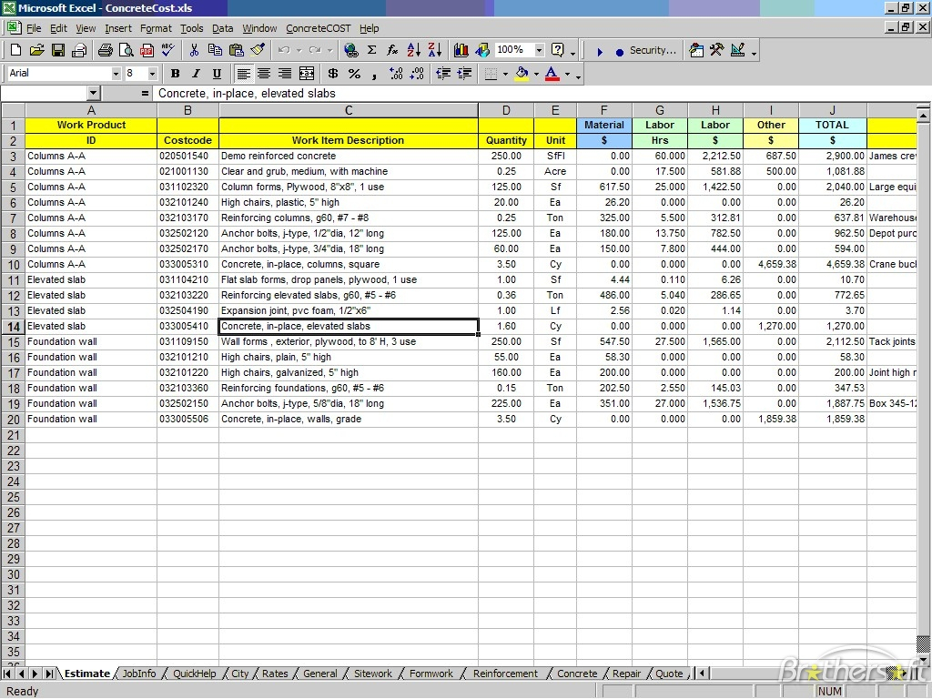Excel Estimating Spreadsheet Templates On Free Spreadsheet Calendar Intended For Estimating Spreadsheet Template