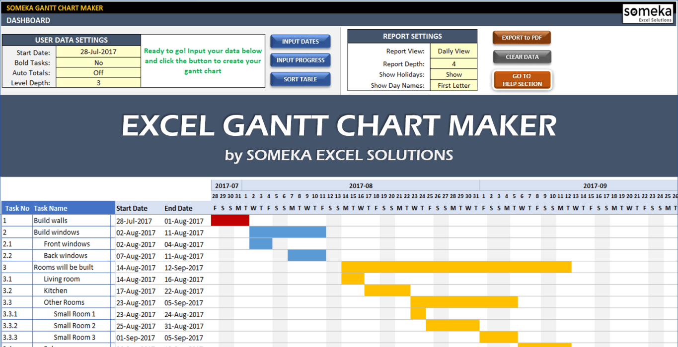 Excel Gantt Chart Maker Template - Easily Create Your Gantt Chart In Throughout Gantt Chart Excel Template With Dates