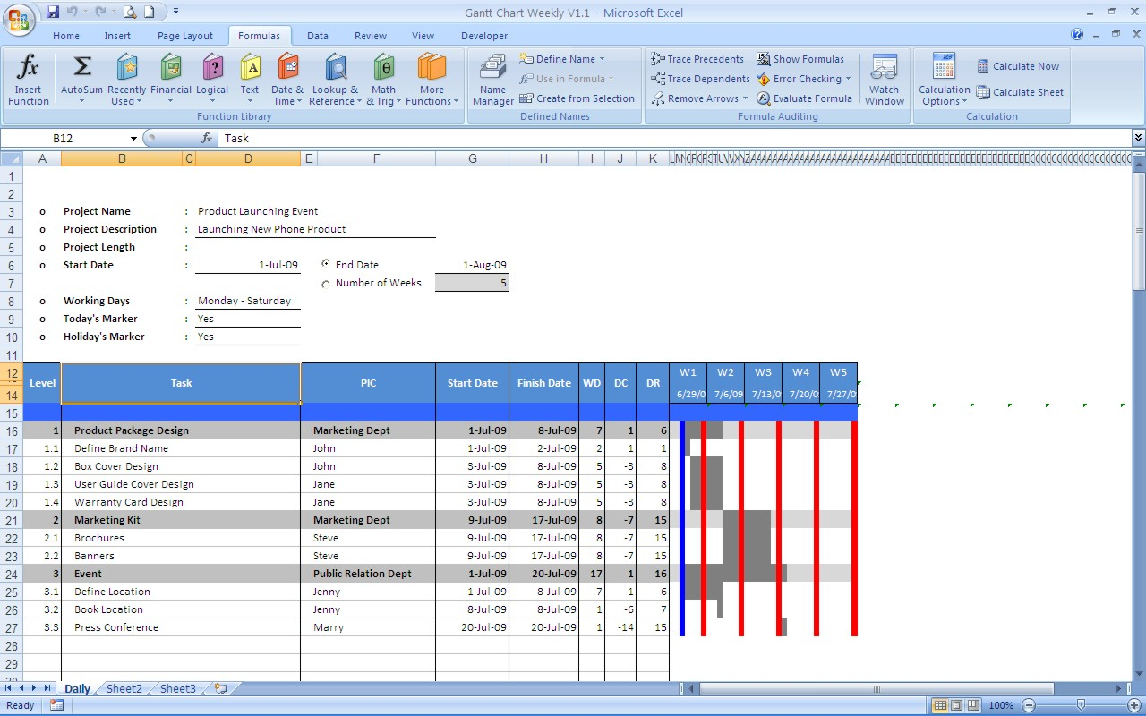 Excel Gantt Chart Template With Dependencies | Wilkinsonplace And Excel Gantt Chart Template Dependencies