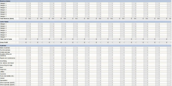 Excel P L Template Twelve Month Profit And Loss Projection Infinite Inside Excel Profit And Loss Projection Template