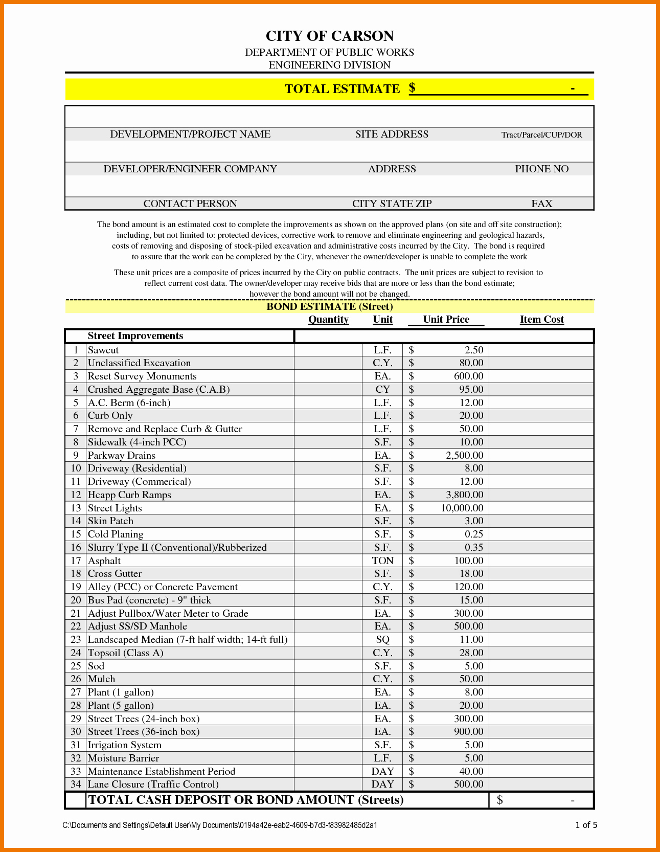Excel Spreadsheet For Construction Estimating For Template Download Within Excel Construction Estimate Template Download Free