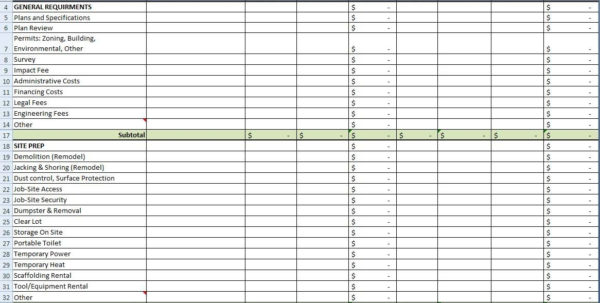 Excel Spreadsheet For Construction Estimating   Laobingkaisuo To For Residential Construction Bid Form