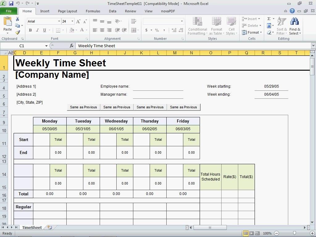 Excel Timesheet Template | Madinbelgrade Inside Timesheet Spreadsheet Template