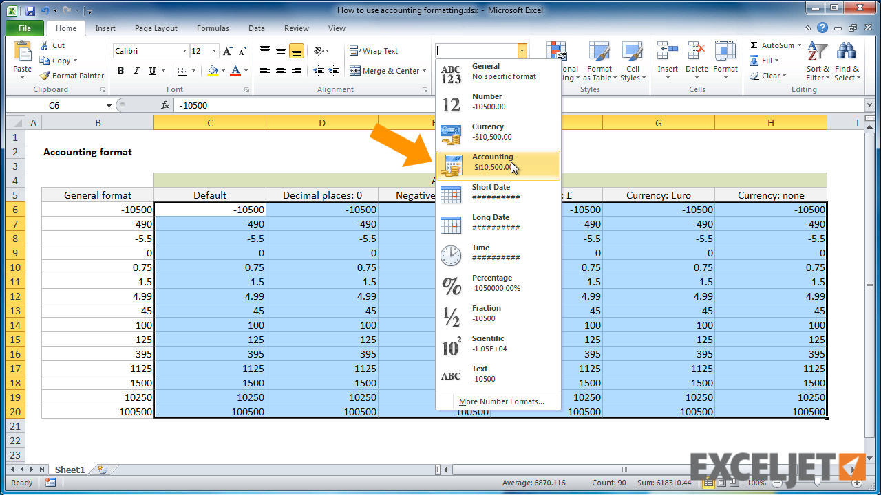 Excel Tutorial: How To Use Accounting Formatting In Excel With Bookkeeping With Excel 2010