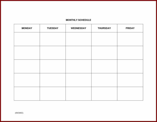 Excel Work Schedule Template Monthly Inside Monthly Work Schedule Template Free