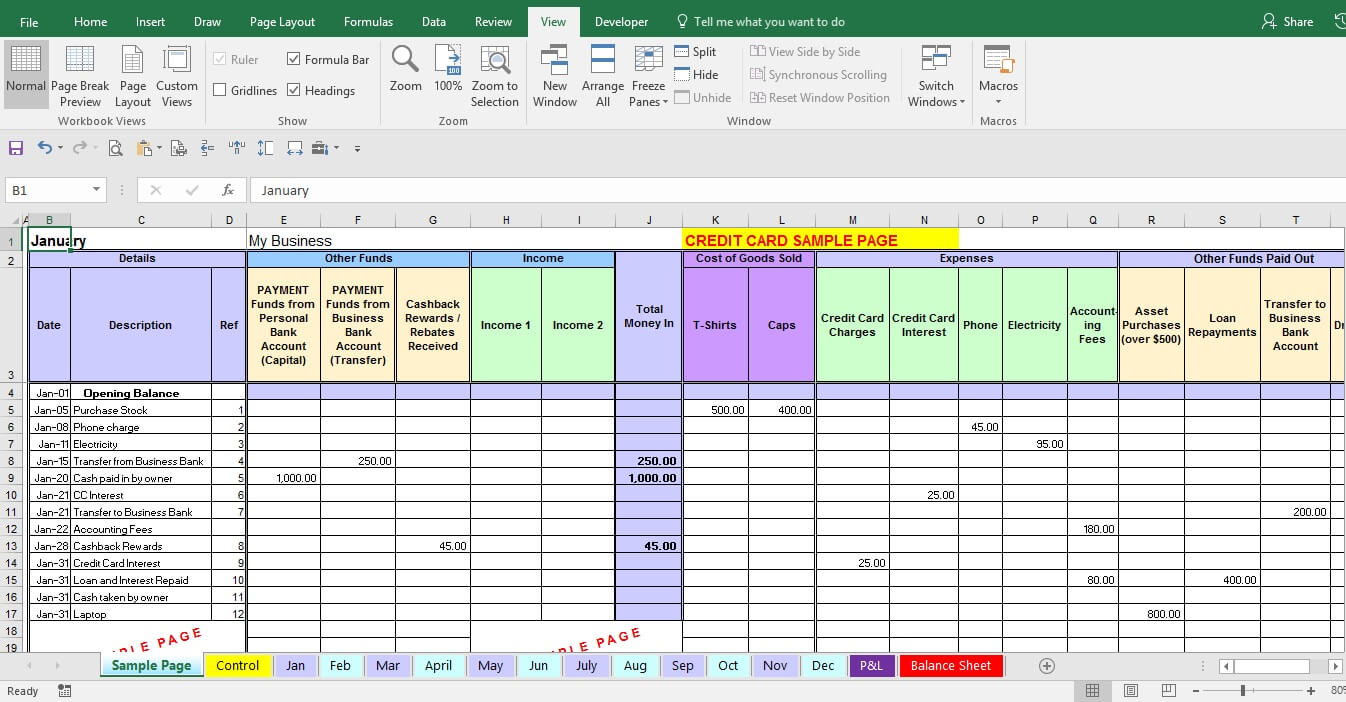 Expense Form Template And Bookkeeping Reports Samples