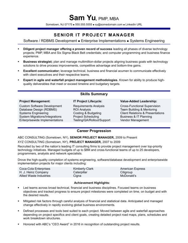 Experienced It Project Manager Resume Sample | Monster In Project Management Resume Templates