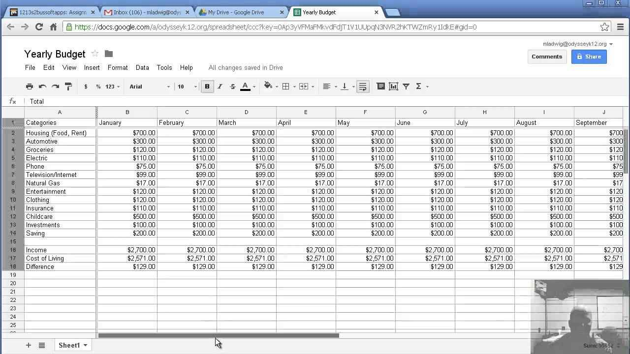 Finance Budget Sheet   Resourcesaver In Personal Budget Finance