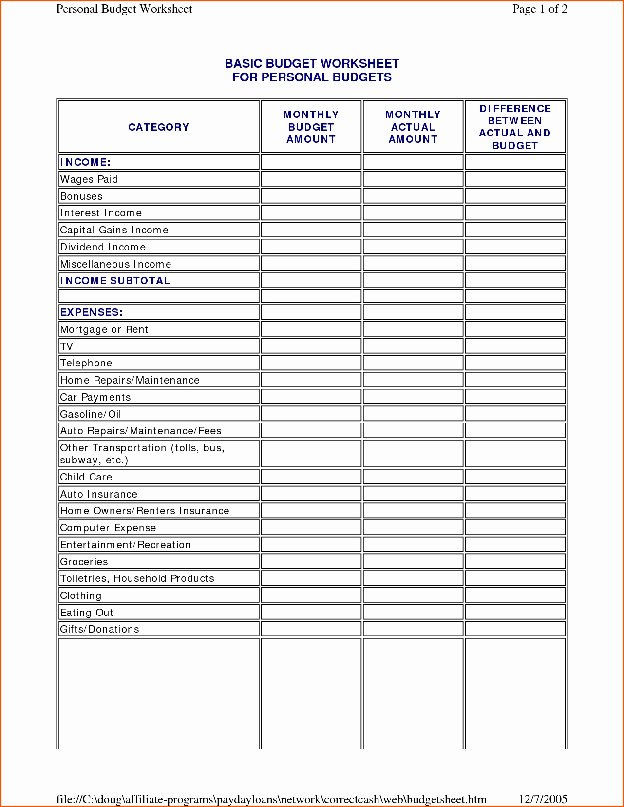 Financial Budget Form   Resourcesaver With Personal Financial Budget Template