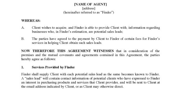 Finder's Fee Agreement For Sales Leads   Legal Forms And Business For Sales Lead Template Forms