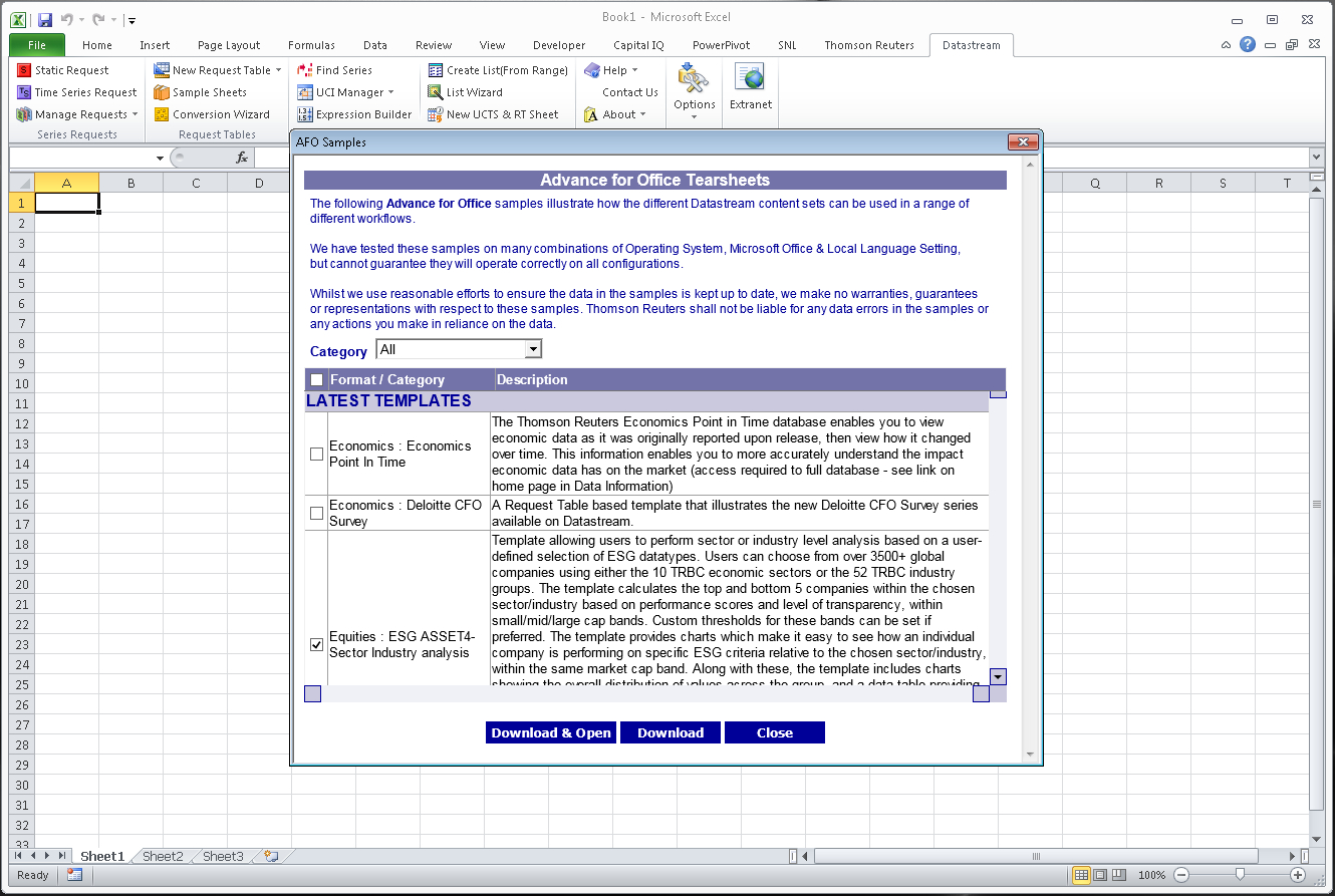 Finding Sample Sheets For Datastream In Excel – Using Specialist To Sample Spreadsheet Data