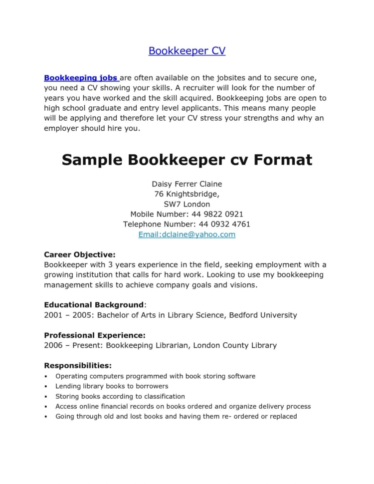 First Resume Template Library Aide Sample Job Examples ~ Peppapp In Bookkeeping Questionnaire Template