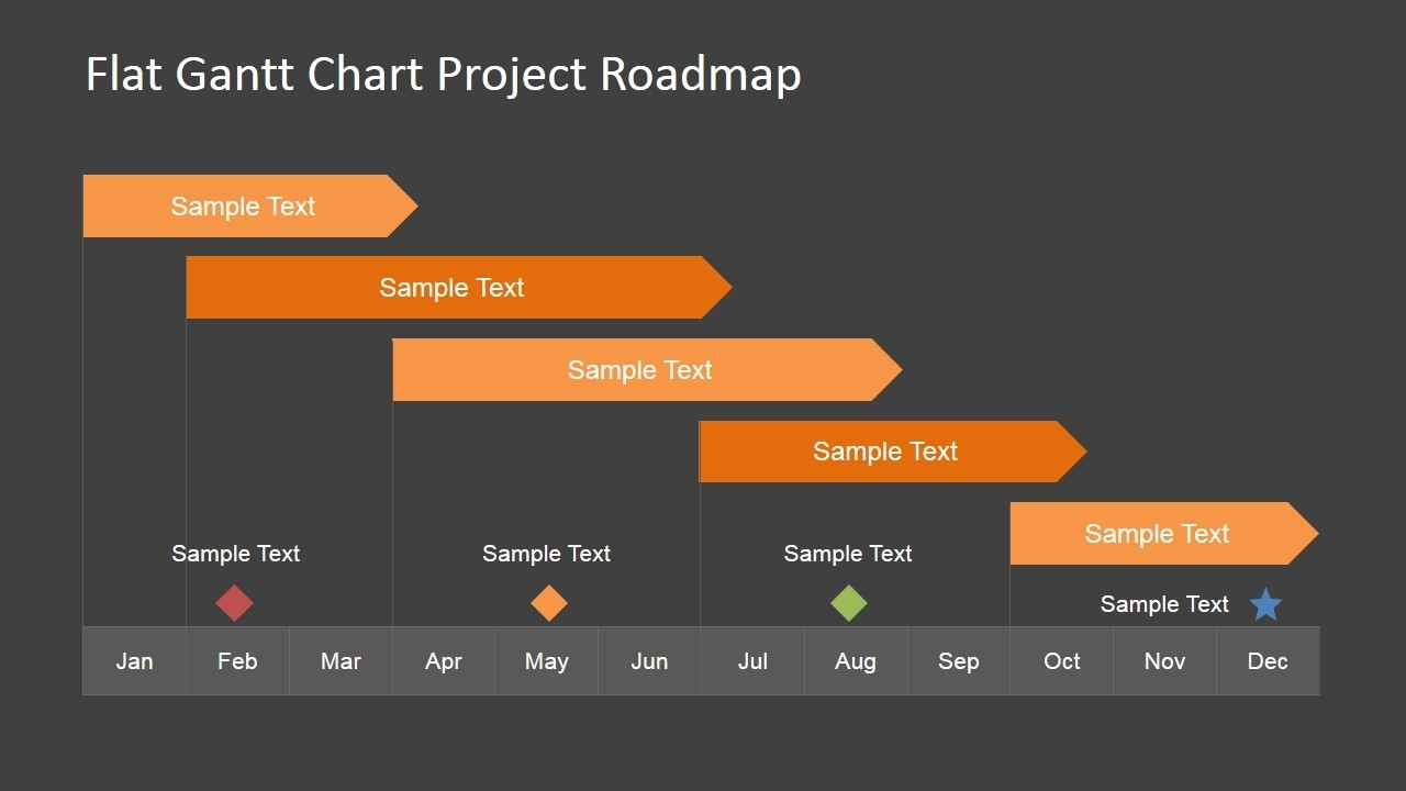Flat Roadmap Gantt Chart With Milestones Slidemodel Together With With Gantt Chart Ppt Template Free Download