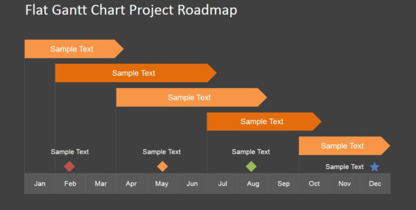 Flat Roadmap Gantt Chart With Milestones   Slidemodel With Ppt Gantt Chart Template Free