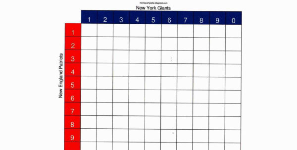 Football Squares Template Excel Luxury Superbowl Pool Charts With Super Bowl Spreadsheet Template