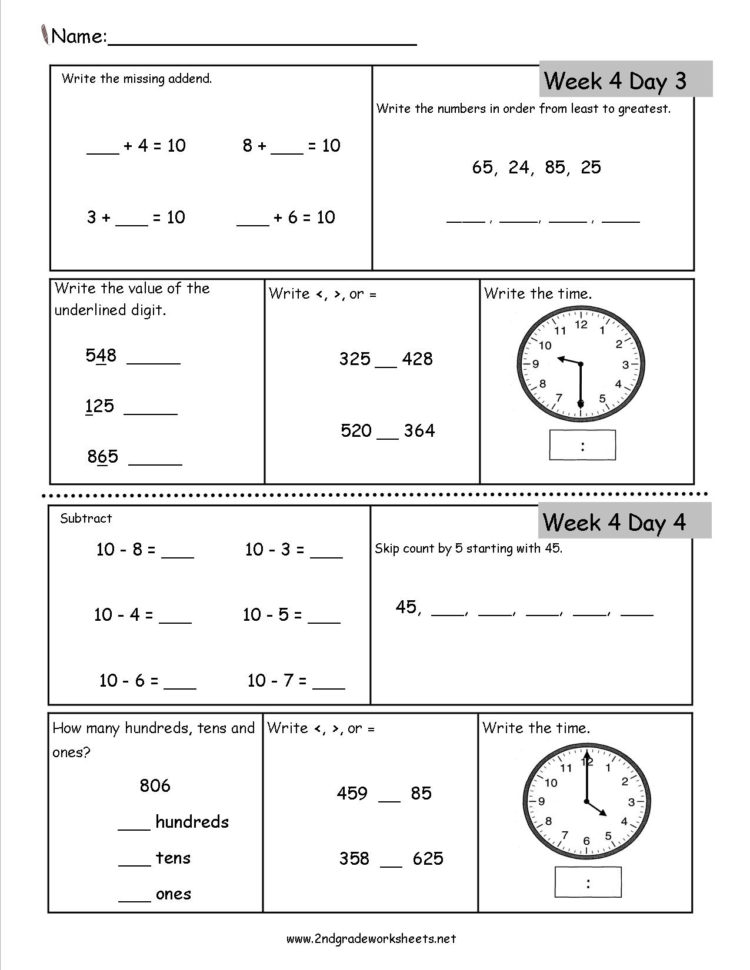 Free 2Nd Grade Daily Math Worksheets For Worksheet Templates For With Worksheet Templates For Teachers