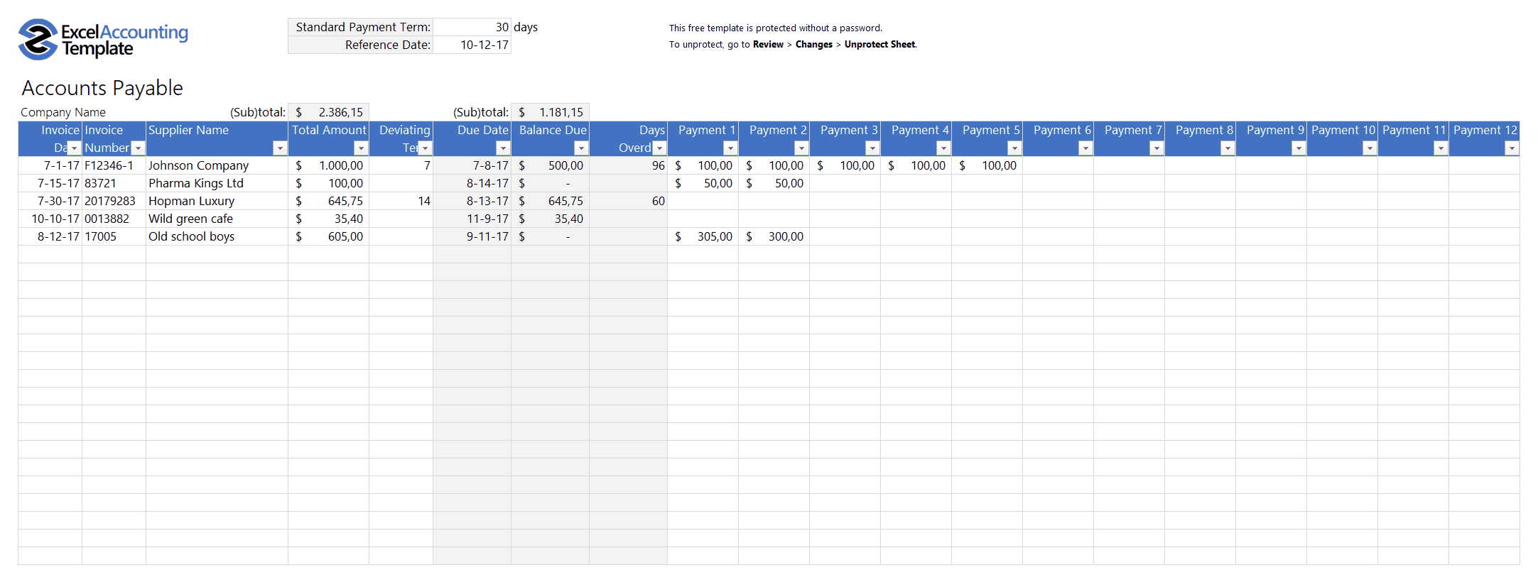 Free Accounting Templates In Excel   Download For Your Business And Bookkeeping Invoice Template Free