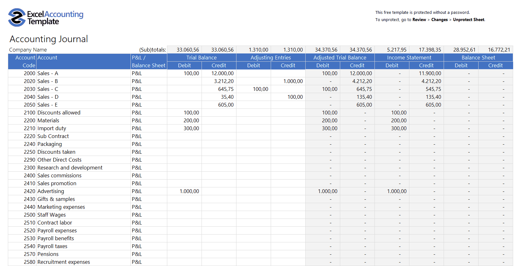 Free Accounting Templates In Excel - Download For Your Business throughout Bookkeeping Excel Templates