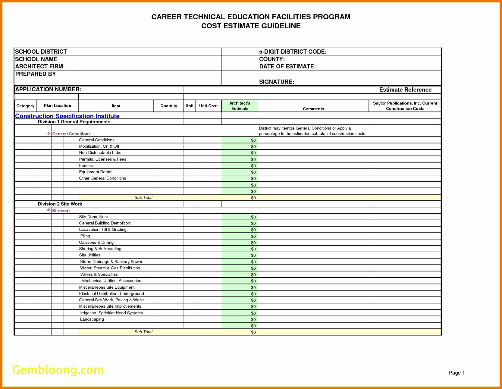 Free building estimate format in excel luxury job sheets for Tender specification template