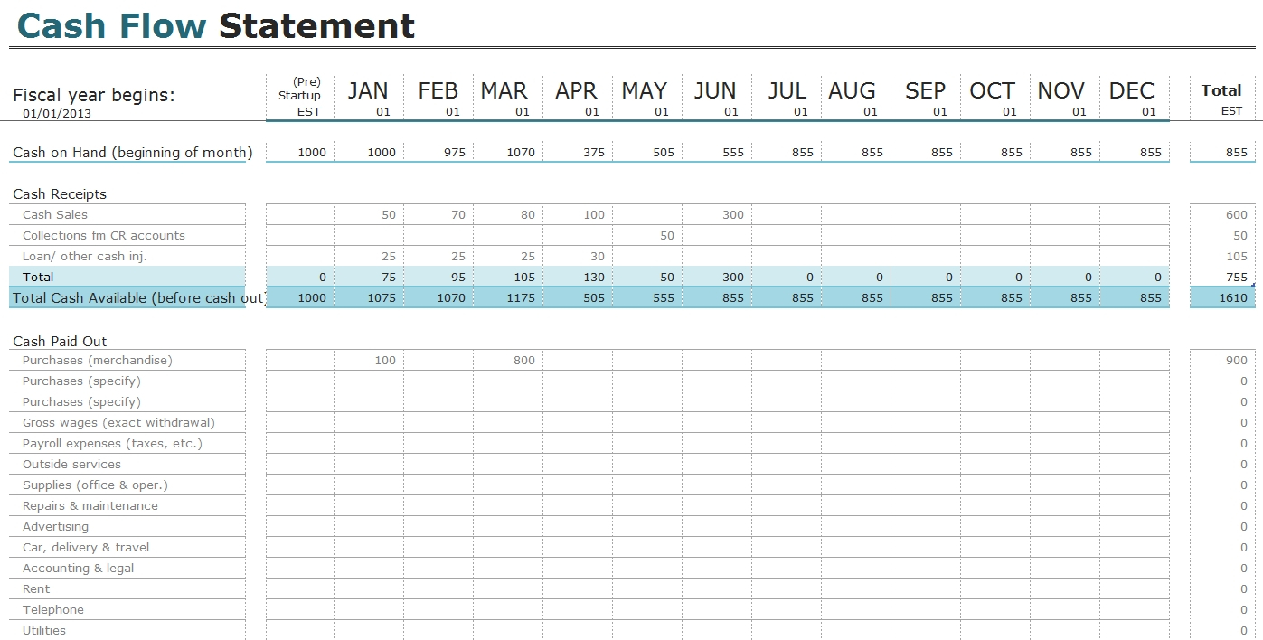 Free Cash Flow Statement Templates For Excel | Invoiceberry Inside Within Free Sole Trader Bookkeeping Spreadsheet