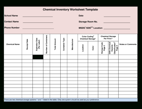 Free Chemical Inventory Worksheet Template | Templates At Intended For Inventory Spreadsheet Templates
