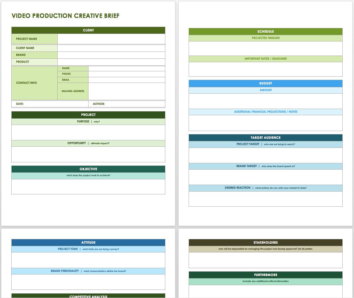Free Creative Brief Templates   Smartsheet With Project Management Design Templates