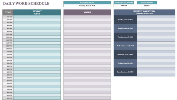Free Daily Schedule Templates For Excel   Smartsheet Intended For Employee Schedule Template Excel