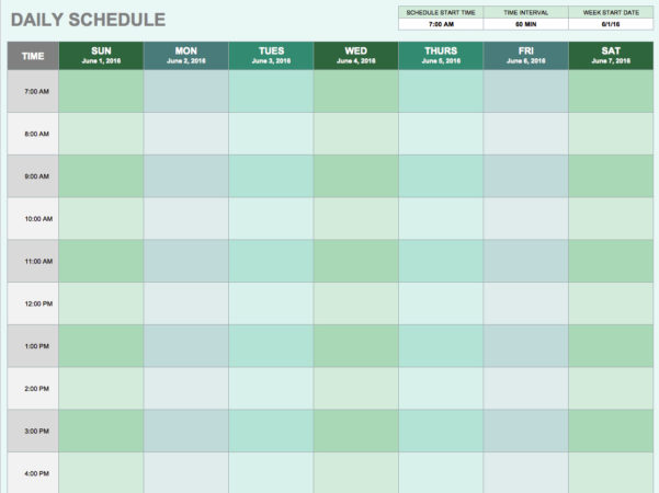 Free Daily Schedule Templates For Excel   Smartsheet Throughout Time Spreadsheet Template