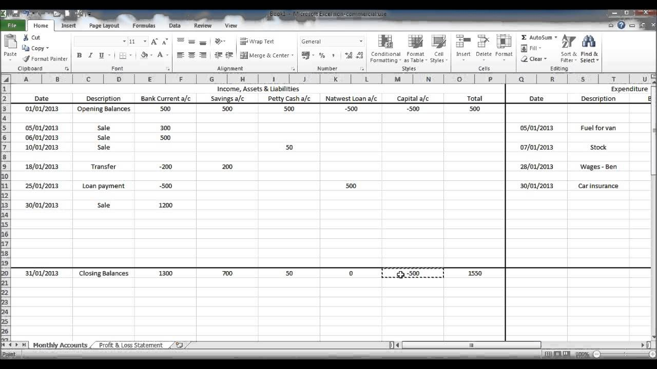 Free Double Entry Accounting Spreadsheet Example | Papillon-Northwan inside Examples Of Double Entry Bookkeeping