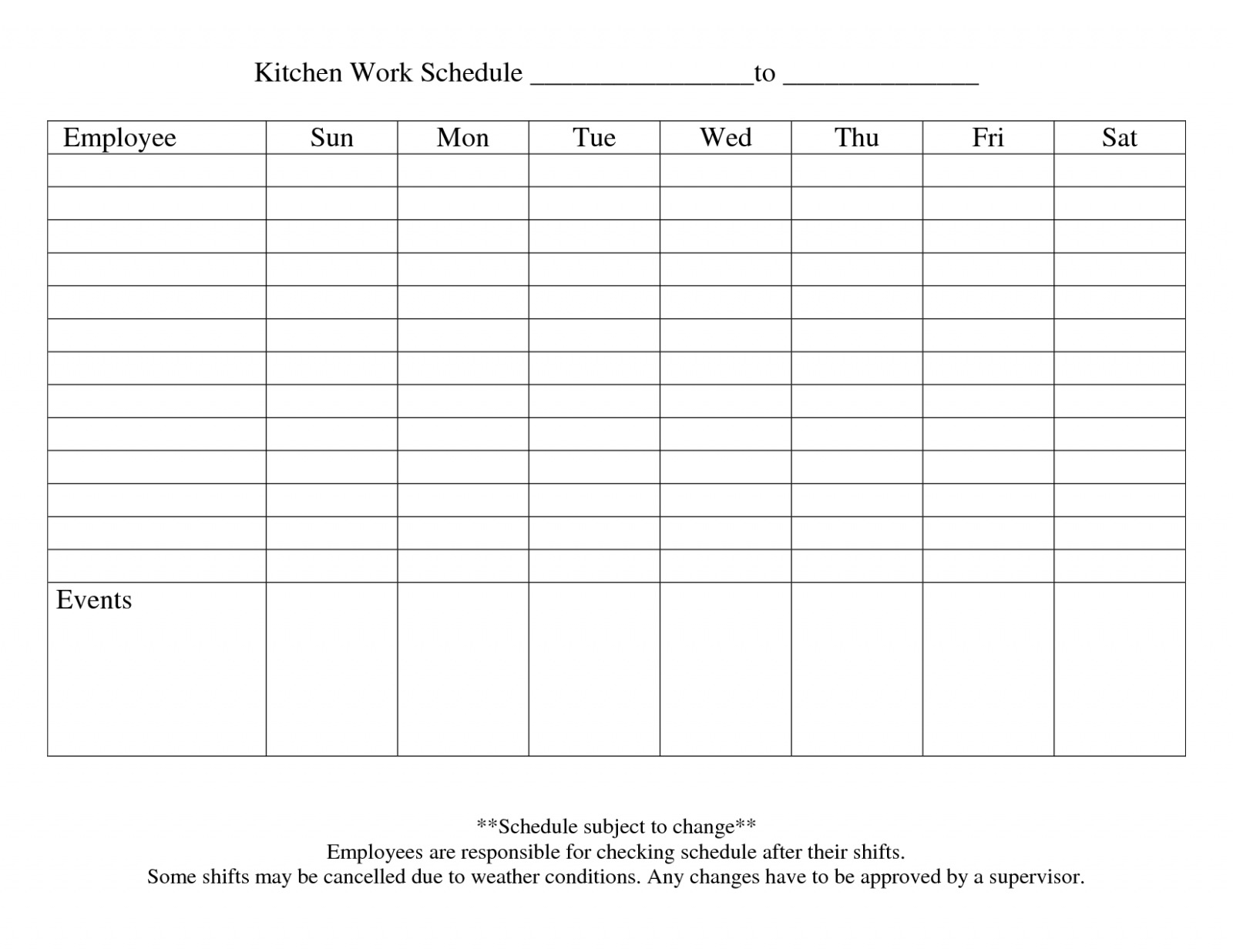 Free Download 13 Blank Weekly Work Schedule Template Free Daily With Employee Weekly Schedule Template Free