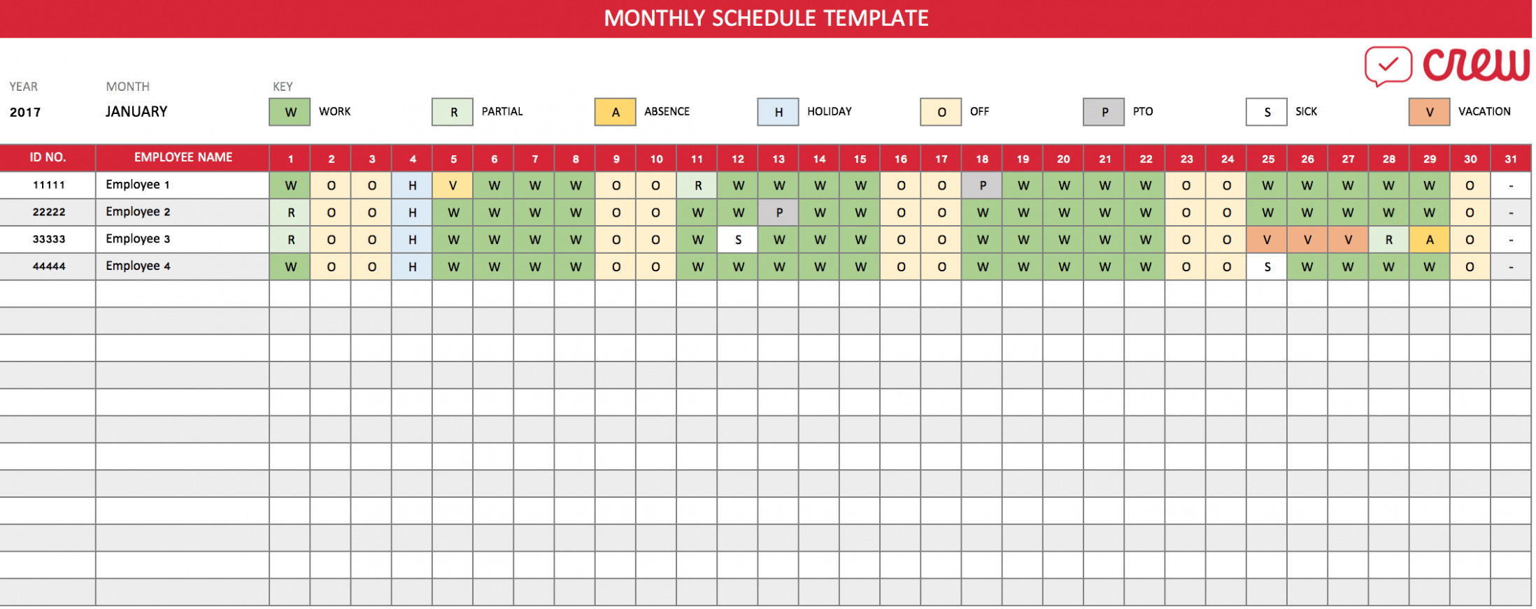 Free Download Free Monthly Work Schedule Template Crew – Top For Monthly Work Schedule Template