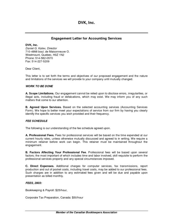 Free Download Sample 17 Bookkeeping Engagement Letter Template In Bookkeeping Contract Template Canada