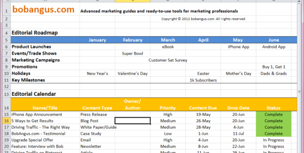 Free Editorial Calendar Template | Bobangus Within Marketing Calendar Template Google Docs