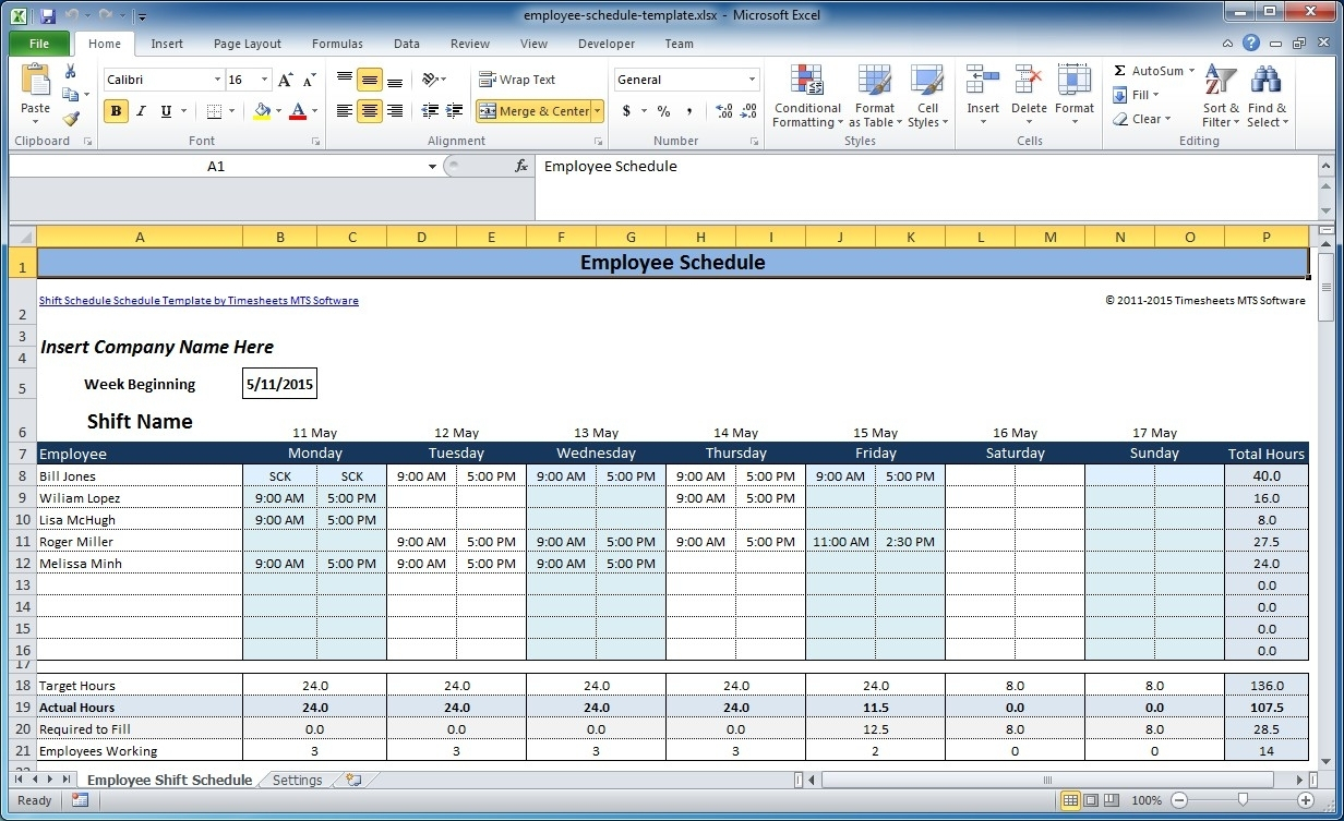 Free Employee And Shift Schedule Templates Inside Monthly Work For Monthly Staff Schedule Template Excel