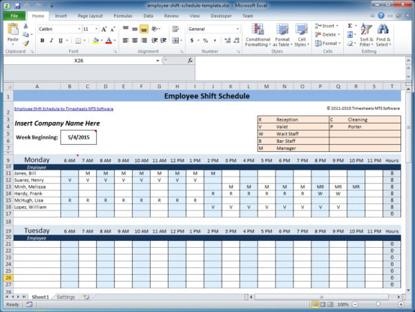 Free Employee And Shift Schedule Templates Intended For Weekly Employee Shift Schedule Template Excel