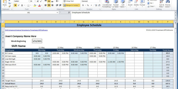 Free Employee And Shift Schedule Templates Throughout Monthly Work Schedule Template Excel